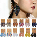 Women Bling Leaf Teardrop Leather Earrings Ear Stud Hook Drop Dangle Jewelry NEW image