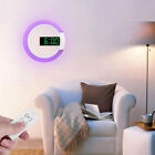 1X Mirror LED Digital Alarm Clock Thermometer Round LED Ring Light Wall Mount V