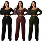 Woman 2pcs Rib Tracksuit Solid Color Button Long Sleeve Crop Sweatshirt+Pant