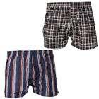 Mens Tom Franks Check Woven Cotton 2 Pack Boxers Trunks Shorts Underwear Size
