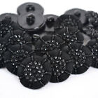 Black Sparkle, Classic Coat Buttons, Shank on Back 13mm 19mm 23mm SOLD PER 2