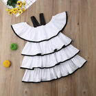 White Cake Baby Girl Dress Sleeveless Party Casual Dresses Kid Clothes Summer UK