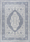 Ivory Petals Bulbs Ovals Scrolls Traditional-European Area Rug Medallion MDN3217