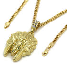 14k Gold Native American Indian Chief Skull Pendant For Mens Hip Hop Chain 3mm
