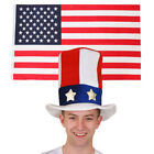 USA FLAG & HAT UNCLE SAM SUPPORTERS SET NATIONAL SPORTS FOOTBALL FANCY DRESS