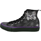 Spiral Bright Eyes, Sneakers - Ladies High Top Laceup Cat Rips Cute