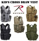 Army Kids Black Coyote Multicam Green Acu Camo Cross Draw Tactical Vest Military