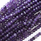 """Natural Faceted Purple Amethyst Rondelle Beads 15.5"""" Strand 2x3 3x4 4x6 6x8"""