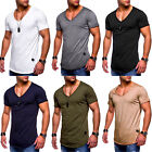 Men's V Neck Short Sleeve Muscle T-shirt Slim Fit Cotton Casual Tee Tops Blouse image
