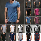 Men's Short Sleeve T-Shirt Summer Slim Fit Casual Muscle Tee Shirts Tops Blouse image