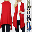 Sleeveless Cardigan Vest Womens Long Tunic Top Drape Open Front Waterfall Casual
