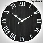 Wall Clock Rustic Wood Large Oversized Vintage Home Office Decor