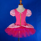 Hot Pink Puff Sleeves Ballet Tutu  Headband Dancewear Fairy Dress Sz 2T-8 BA051