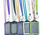 Bling Crystal Rhinestone Neck Lanyard with Vertical Photo ID badge holder
