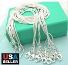 "5pcs/lot 925 Sterling Silver Plated Snake Chain Necklace 1mm 18"" 20"" 22"" 24"""
