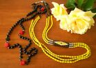 Lot of 2 x Vintage Long Glass Bead Necklaces Statement Pce Black Red Lime Green