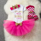 It's My First Birthday Dress 4pcs Baby Girls Romper+Tutu Skirt+Headband+Leggings