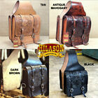 U-MAIN HILASON WESTERN LEATHER COWBOY TRAIL RIDE HORSE SADDLE BAG 12 X 11 X 3.5