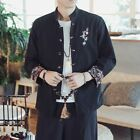 Fashion Mens Spring Slin Fit Shirt Flower Embroidery Chines Style Cotton Linen