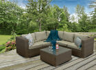 Casagiardino Grey Rattan Corner Sofa Outdoor Garden Furniture Coffee Table Set