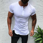 Mens Slim Fit Short Sleeve T Shirt Muscle Tee Casual Blouse Tops Henley Shirts