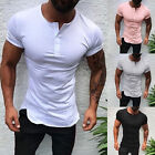 Mens Slim Fit Short Sleeve T Shirt Muscle Tee Casual Blouse Tops Henley Shirts image
