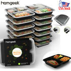 15Pcs Meal Prep Container Plastic Food Storage Reusable Microwavable + Lid G3T8