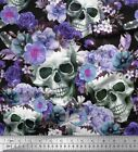 Soimoi Fabric Skull,Rose & Anemone Flower Print Fabric by the Yard - FW-207C
