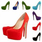 Suede Closed Toe Platform Stiletto High Heel Classic Pumps Chic New Womens shoes