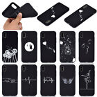 For Apple iphone 5 6 6S 7 8 XR XS Max Soft Silicone Black Painted TPU Case Cover