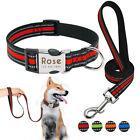 Nylon Personalised Dog Collars Leads Pet Name ID Reflective for Bulldog Labrador