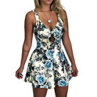 Women Floral Mini Playsuit Jumpsuit Romper Holiday Summer Casual Shorts Sundress