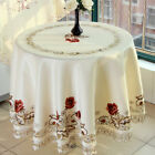 White Embroidered Tablecloth Floral Lace Round Table Cover Dining Banquet Decor