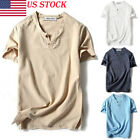 Fashion Mens T Shirt Long Sleeve Linen Shirts Casual Breathable Soft V Neck Tops image