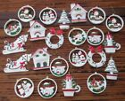 Unique 23 Christmas Matching Ornaments Hard Plastic Scenic excellent cond