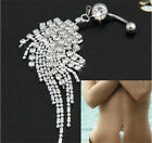 Unique Beauty Navel Belly Button Rings Bar Crystal Flower Dangle Body Piercing