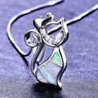 925 Silver Cat White Fire Opalpendant Chain Necklace Womens Ladies Jewellery