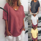 New Womens Loose Casual Summer Solid Short Sleeves Plus Size Tops T-Shirt Blouse