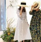 ZARA OFF WHITE LINEN COTTON BUTTON UP A LINE MIDI LONG POLKA DOT SHIRT DRESS