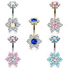 BodyJ4You Belly Button Ring 7 Large CZ Crystal Multicolor Flower 14G Navel Ring image