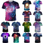 Women Men 3D Galaxy Printed Cool Summer T-shirt Unisex Short Sleeve Star Top Tee image