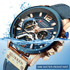 Casual Sport Watches for Men Blue Military Leather Chronograph Wristwatch image