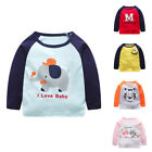 Toddler Infant Kids Baby Boy Girl Cartoon Letter Tops T-Shirt Outfits Clothes SZ