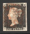 QV 1840 sg2 penny black plate 2 state 1 with bur run in margin ( T C ) VFU