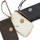 New Michael Kors Fulton Large Wristlet Signature