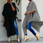 ZANZEA Women Batwing Long Maxi Shirt Dress High Split Shirt Tops Blouse Oversize