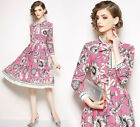New Women Long Sleeve Floral Dress Spring Formal Leisure Slim Europe Long Dress