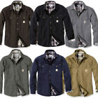 Carhartt Mens Weathered Canvas Washed Flannel Lined Shirt Jacket Top