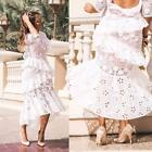 AUTH ALEXIS Mikaela Floral Lace Eyelet Ruffled open back Romantic Long Dress