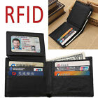 Men Leather RFID Blocking Bifold Wallet Removable Passcase Credit Card Protector